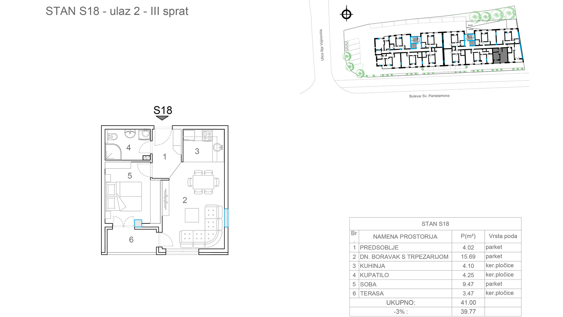 Prodaja stanova Niš - Objekat u Somborskoj bb Ulaz 2 - Stan S18