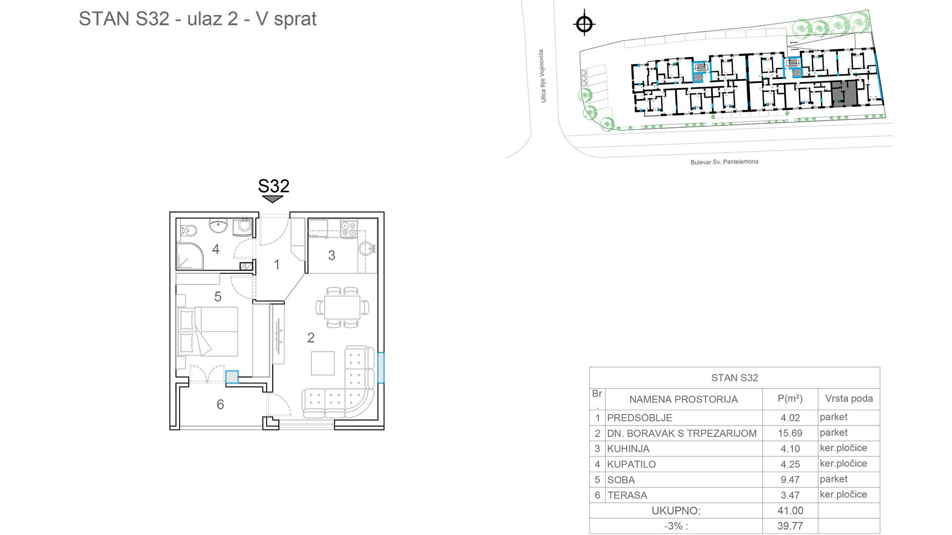 Prodaja stanova Niš - Objekat u Somborskoj bb Ulaz 2 - Stan S32