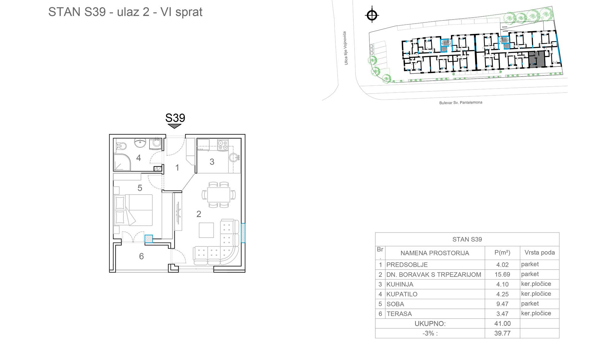 Prodaja stanova Niš - Objekat u Somborskoj bb Ulaz 2 - Stan S39