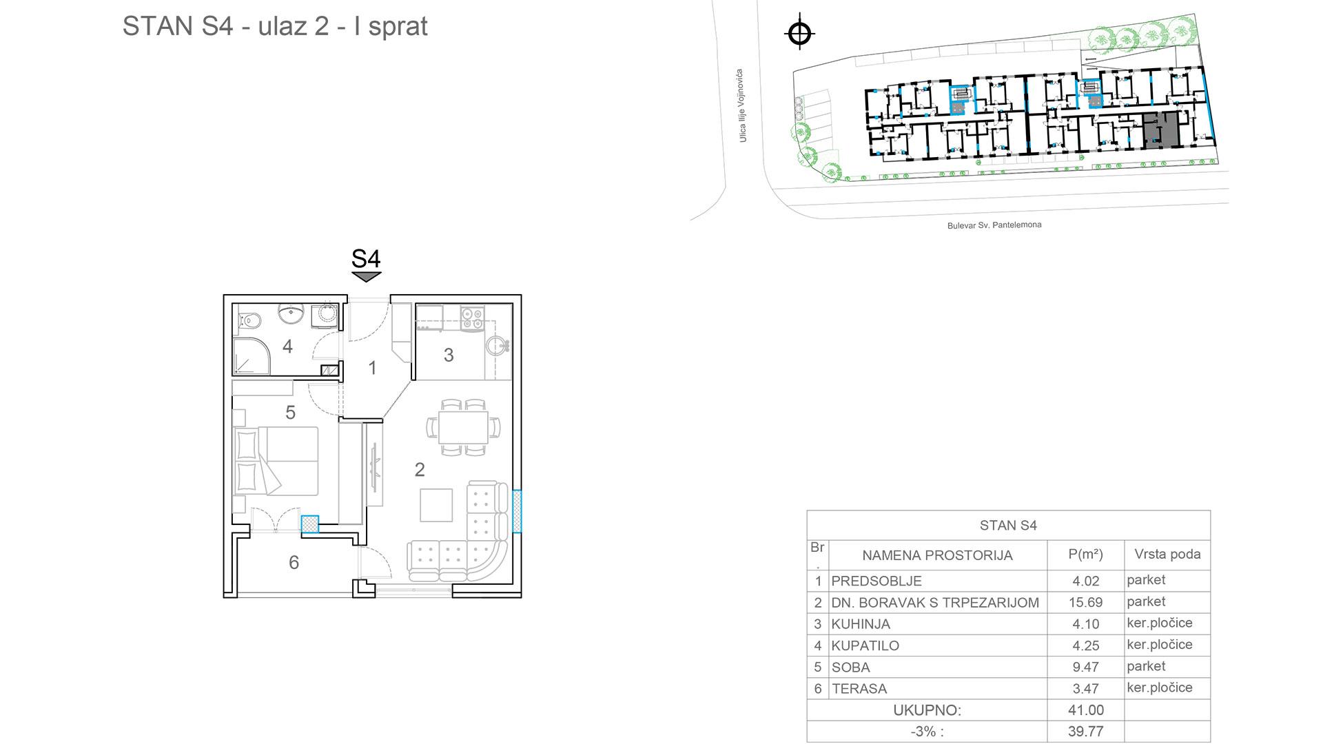 Prodaja stanova Niš - Objekat u Somborskoj bb Ulaz 2 - Stan S4